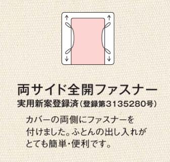 羽毛布団のカバー固定用ひもの位置